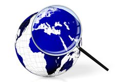 3D Earth, magnifying glass Royalty Free Stock Image