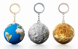 3D Earth, Moon and Mars connected to keychain. 3D illustration.  Stock Photos