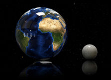 3D Earth, moon and star. Elements of this image furnished by NASA. vector illustration