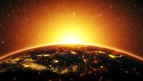 3D Earth by Night Close Up with Rising Sun Intro Logo Background stock video