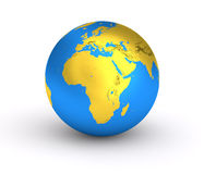 3D Earth golden blue planet Stock Photos