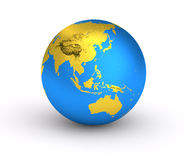 3D Earth golden blue planet. Isolated globe with blue ocean and gold land crust. Metallic world atlas Royalty Free Stock Photo