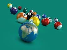 3d Earth on a pool table Stock Photos