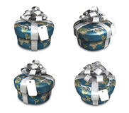 3D earth round gift box set pattern. 3D Icon Design Series. Royalty Free Stock Photography