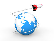 3d earth with space rocket Royalty Free Stock Photo