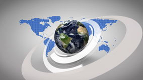 3d earth spinning on blue map background royalty free illustration