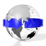 3D Earth, travel concept. 3D Earth/ globe/ world map (Asia, Australia side), arrow - great for topics like traveling, global business etc Stock Photos