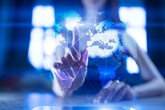 3D Earth on virtual screen. Global business strategy concept. Internet and Communication technology concept. stock images