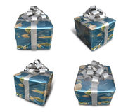 3D Earth wrapped gift box set pattern. 3D Icon Design Series. Stock Images