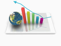 3d Earthglobe with Achievement or Growth Bar Chart on White Comp Royalty Free Stock Photo