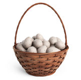 3D Easter basket filled with colorful eggs. Isolated stock photos