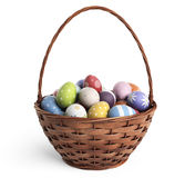 3D Easter basket filled with colorful eggs. Isolated stock photo
