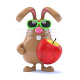 3d Easter bunny eats an apple. 3d render of a chocolate rabbit with an apple Royalty Free Stock Photography