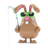 3d Easter bunny fisherman Stock Photography
