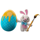 3D easter bunny, merry cartoon rabbit, animal character with easter color egg Stock Images