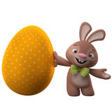 3D easter bunny, merry cartoon rabbit, animal character with easter color egg Royalty Free Stock Images