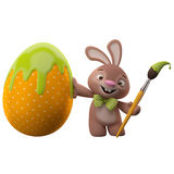 3D easter bunny, merry cartoon rabbit, animal character with easter color egg Stock Image