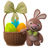 3D easter bunny, merry cartoon rabbit, animal character with easter eggs in wicker basket Stock Photos
