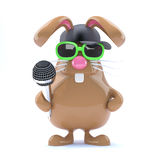 3d Easter bunny rapper. 3d render of a rabbit with microphone and baseball hat Royalty Free Stock Photos