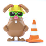 3d Easter bunny road works Royalty Free Stock Photos
