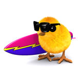3d Easter chick is going surfing Stock Images