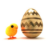 3d Easter chick has a giant gold egg. 3d render of an Easter chick next to a golden egg Stock Images