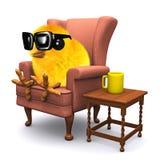 3d Easter chick has a tea break royalty free illustration