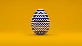 3D Easter Egg with white and blue pattern on orange background.  Royalty Free Stock Photos