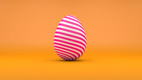 3D Easter Egg with white and pink stripes on orange background Stock Photo