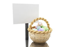 3d Easter eggs in a basket with empty blankboard. 3d ilustration. Decorated easter eggs in a basket with empty blankboard.  white background Stock Images