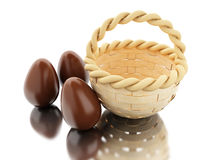 3d Easter eggs in a basket. 3d illustration. Decorated easter eggs in a basket. Isolated white background Stock Photography