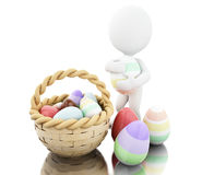 3d Easter eggs in a basket. 3d illustration. Decorated easter eggs in a basket. Isolated white background Royalty Free Stock Photos