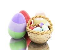 3d Easter eggs in a basket. 3d illustration. Decorated easter eggs in a basket.  white background Royalty Free Stock Image