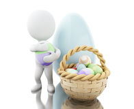 3d Easter eggs in a basket. 3d ilustration. Decorated easter eggs in a basket.  white background Royalty Free Stock Photos