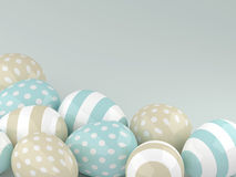 3d Easter glossy eggs over pastel background Stock Photos