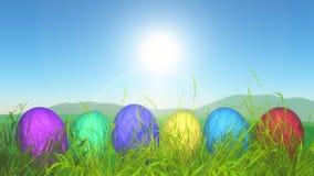 3D Easter jajka w trawiastym krajobrazie zdjęcia stock