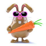 3d Easter rabbit with a carrot. 3d render of a chocolate rabbit holding a carrot Stock Photos
