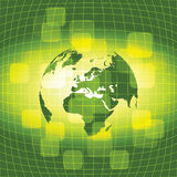 3D Eco Earth Globe - Business Background. Abstract Green and Yellow Shimmering 3D Eco Business Earth Globe - Vector Illustration Stock Photo