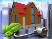 3d eco power cable over city. 3d illustration of cottage with eco power cable over city background Stock Photos