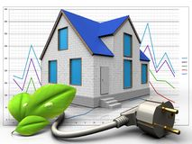 3d eco power cable over diagram. 3d illustration of home with eco power cable over diagram background Stock Images