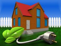 3d eco power cable over grass and fence. 3d illustration of cottage with eco power cable over grass and fence background Stock Image