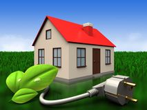 3d eco power cable over meadow. 3d illustration of house with eco power cable over meadow background Stock Photos