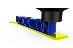3d education cap concept Stock Photos