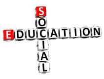 3D edukaci Ogólnospołeczny Crossword Obrazy Stock