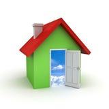3d eenvoudig huismodel met deur open aan hemel Stock Foto's