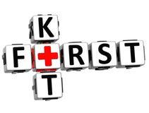 3D Eerste Kit Crossword Block Button-tekst Stock Foto's
