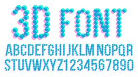 3D Pixel Font Vector. Futuristic Alphabet. Abc. Anaglyphic Letters, Numbers. Glitch Text. Illustration. 3D Effect Pixel Stereo Font Vector. Distortion Numerals Royalty Free Stock Images