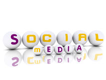 3d effect Spheres with label Social Media. With word Royalty Free Stock Photography