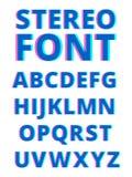 3d effect van stereoscopisch alfabet Filmglitch De symbolen en de karakters isoleren op witte achtergrond stock illustratie