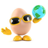3d Egg with a globe of the Earth Royalty Free Stock Photos